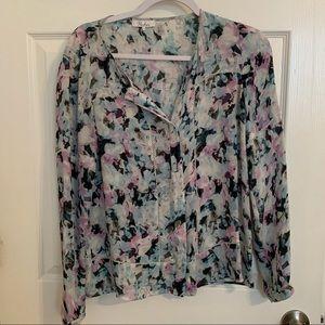 Parker floral button down silk blouse